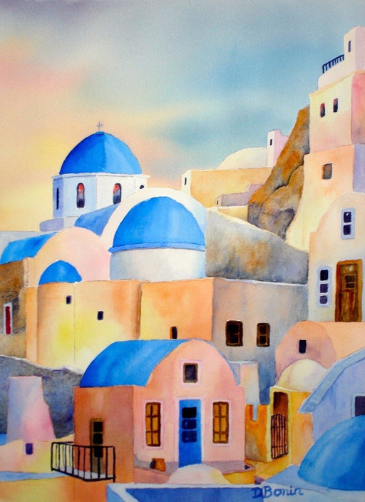 Santorini Sunset - Artfest Ontario - Back-in-Time Gallery - Paintings by Donna Bonin - Paintings, Artwork & Sculpture
