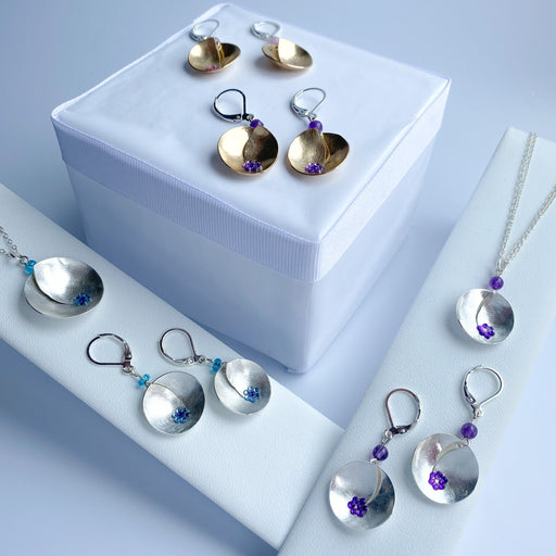 Satin Finish Sterling Silver Earrings with Matching Pendant - Artfest Ontario - Studio Degas - Jewelry & Accessories