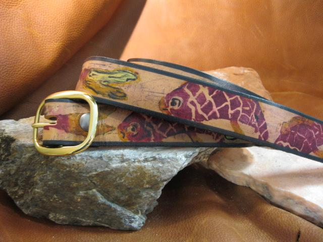 Sculpt print Oriental gold fish Belt - Artfest Ontario - Gu krea..shun - Leather belts
