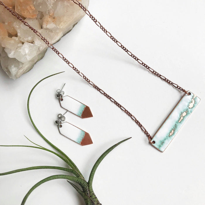 Seafoam Bar Necklace in White & Polished Copper - Artfest Ontario - Aflame Creations Jewelry - Jewellery