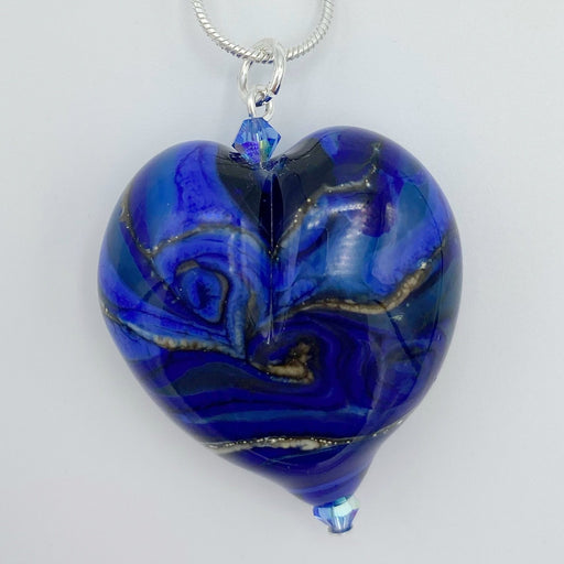 Shades of Blue Heart Pendant - Artfest Ontario - Fire & Flame Glassworks - Glass Work