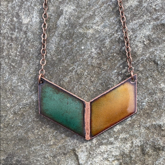 Shield Chevron Necklace in Green & Amber - Artfest Ontario - Aflame Creations Jewelry - Jewellery