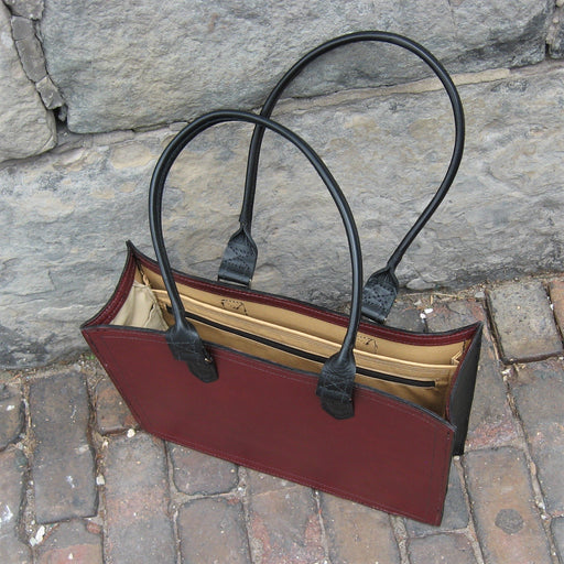 Shopper Bag with open top – burgundy with black handles and trim - Artfest Ontario - Arrowsmith Leather - Clothing & Accessories