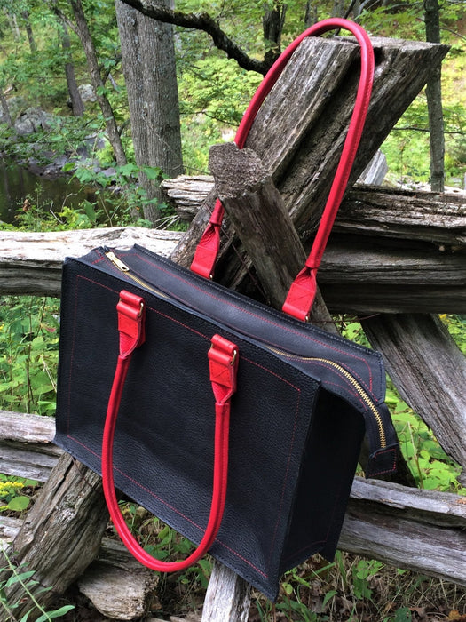 Shopper bag with zipper top – black with red handles and trim - Artfest Ontario - Arrowsmith Leather - Clothing & Accessories
