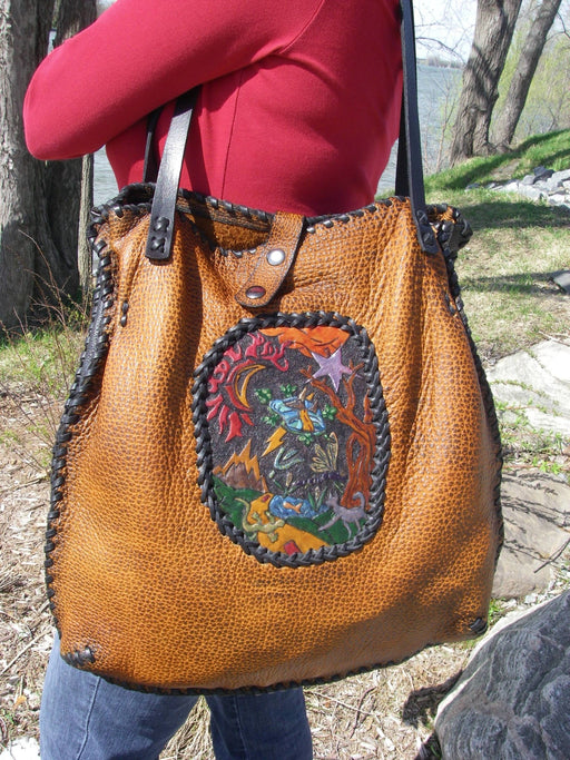 Shopping Bag Hand Carved Inlay - Artfest Ontario - Gu krea..shun - Bags