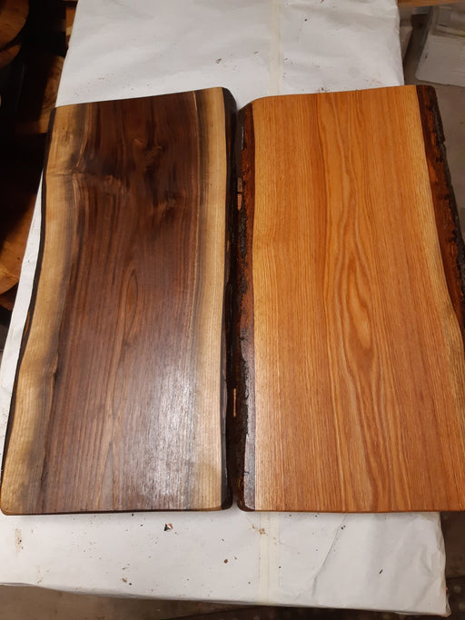 Shorter Live Edge Grazing Boards, Black Walnut and Red Oak Wood Species. - Artfest Ontario - Live Edged Woodcraft - Woodwork