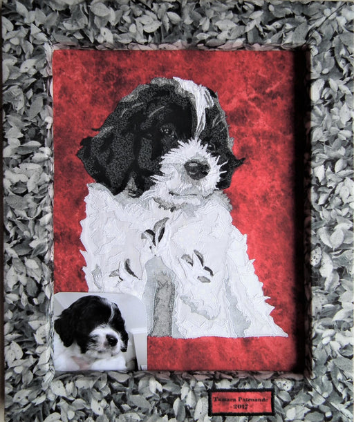 Shy and Tired Puppy Quilted Portrait - Artfest Ontario - Tamara's Treasured Shop - Home Decor
