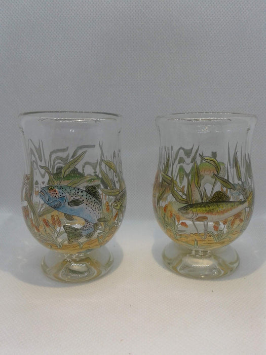 Sipping Glasses Hand Painted Trout - Artfest Ontario - Lukian Glass Studios - Glass Work