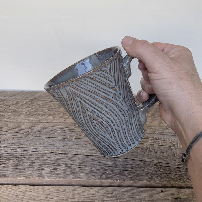 SLATE MUG WITH CARVED WOODGRAIN - 16 OUNCES - Artfest Ontario - Dotti Potts - Pottery
