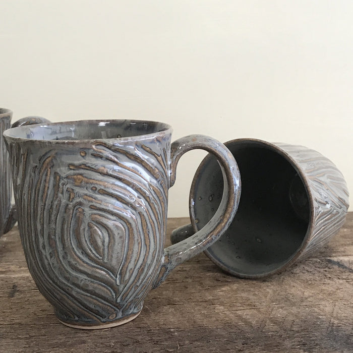 SLATE MUG WITH WOOD GRAIN CARVED SURFACE - 15 OUNCES - Artfest Ontario - Dotti Potts - Pottery