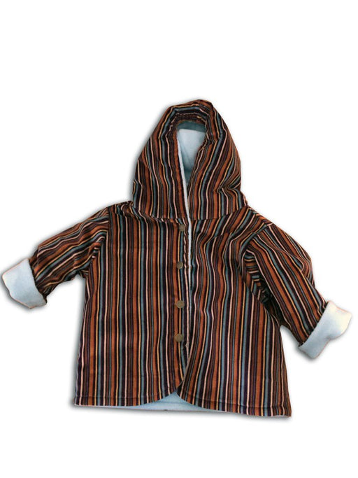 Soft Blue & Striped Corduroy Reversible Jacket - Artfest Ontario - Muffin Mouse Creations - Clothing & Accessories