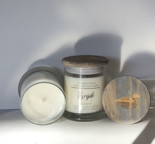 Soy Wax Candle - 12 oz Fat Bottom Jar with Loon Laser-engraved wood lid, Fireside Fragrance (BBW Type) - Artfest Ontario - North Country Candle - Furniture & Houseware