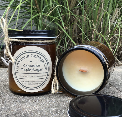 Soy Wax Candle - Canadian Maple Sugar - Canadiana Cottage Life - 7 oz Amber jars with black metal lid - loon wine charm - Artfest Ontario - North Country Candle - Furniture & Houseware