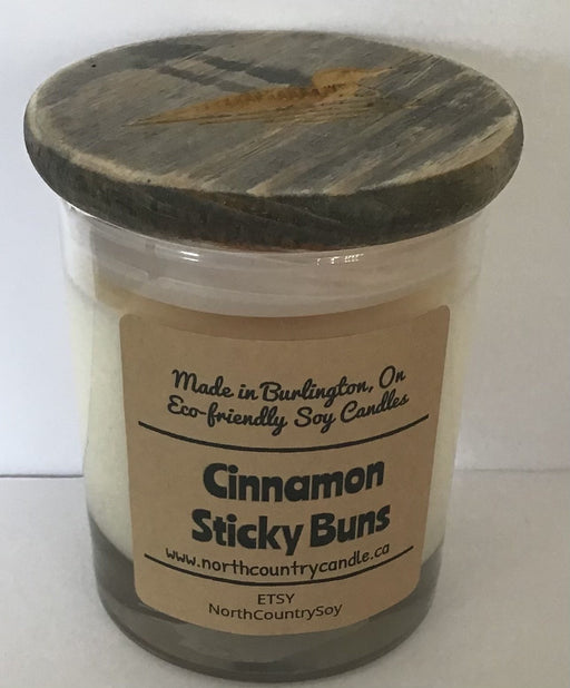 Soy Wax Candle - Cinnamon Sticky Buns - 8 oz glass wood wick -laser-engraved lid - Artfest Ontario - North Country Candle - Furniture & Houseware