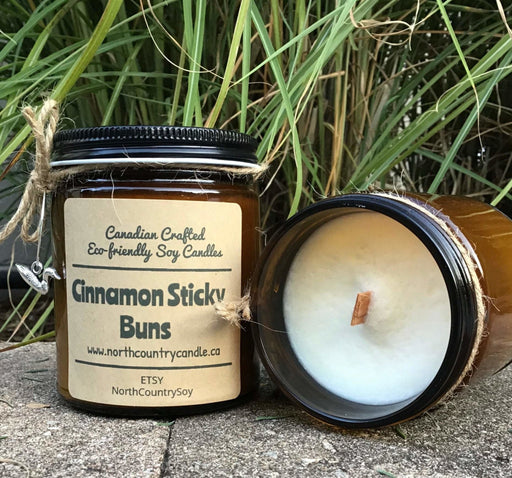 Soy Wax Candle - Cinnamon Sticky Buns - Wood Wick -two sizes - Artfest Ontario - North Country Candle - Furniture & Houseware