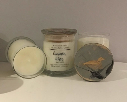 Soy Wax Candle - Cucumber Water -12 oz fat bottom jar laser-engraved wood lid - Artfest Ontario - North Country Candle - Furniture & Houseware