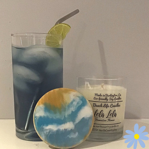 Soy Wax Candle -Lela Lela (Hawaiian flower) -Beach Life Series -two jar sizes - Artfest Ontario - North Country Candle - Furniture & Houseware
