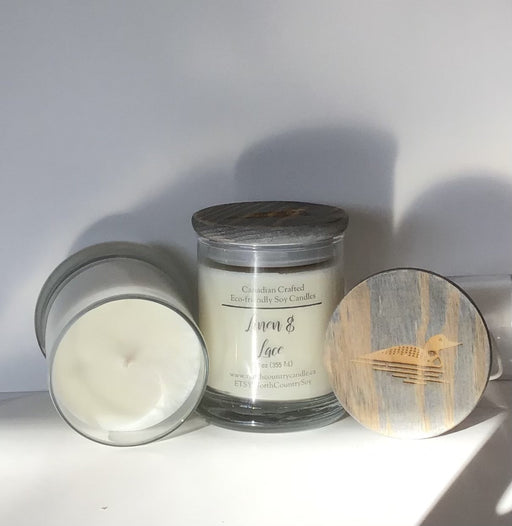 Soy Wax Candle - Linen & Lace with a bit of spice - 12 oz Fat Bottom Jar with Loon Laser Engraved Lid, Cotton Core Wicks - Artfest Ontario - North Country Candle - Furniture & Houseware