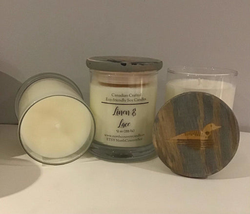 Soy Wax Candle -Linen & Lace with a hint of spice -12 oz fat bottom jar, laser engraved lid - Artfest Ontario - North Country Candle - Furniture & Houseware