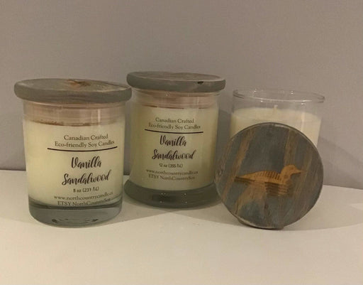 Soy Wax Candle - Vanilla Sandalwood - two jar sizes - engraved wood lid - Artfest Ontario - North Country Candle - Furniture & Houseware