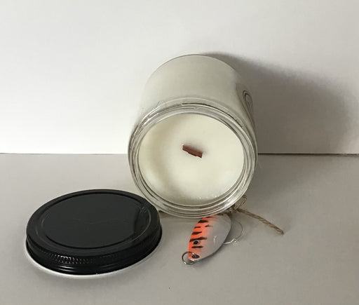 Soy Wax Candles - Muskoka Lakes -7 oz clear jar wood wick -fishing lure wine charm -Gift Boxed - Artfest Ontario - North Country Candle - Furniture & Houseware