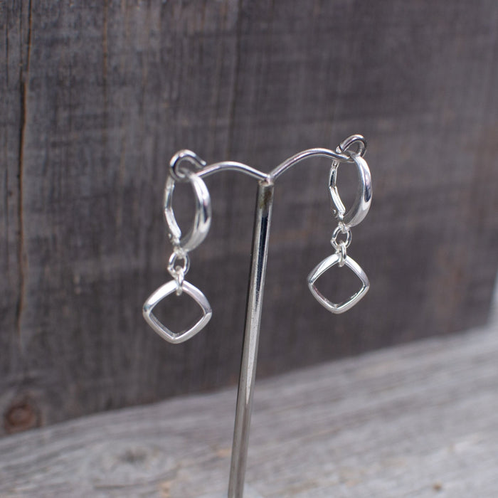 Square dangle sterling silver earrings - Artfest Ontario - Lisa Young Design - Earrings