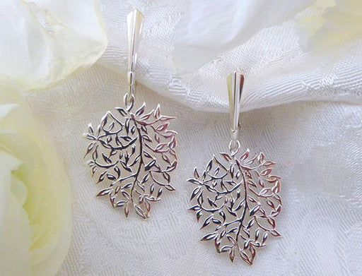 Stearling Leaf Tiffany Earrings on European Backs - Artfest Ontario - Delicate Touch Jewellery - Fine Jewellery