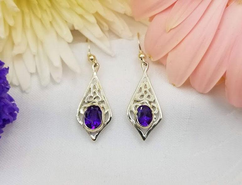 Sterling Celtic Teardrop with Amethyst Earrings - Artfest Ontario - Delicate Touch Jewellery - Fine Jewellery
