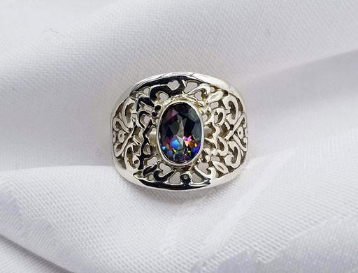 Sterling Filigree Mystic Topaz Ring - Artfest Ontario - Delicate Touch Jewellery - Fine Jewellery