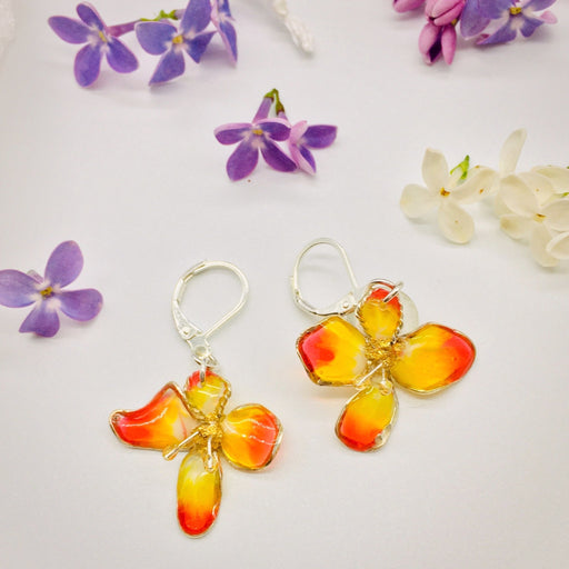 Sterling Silver and Resin Flower Earrings Orange and Yellow - Studio Degas - Artfest Ontario - Studio Degas - Jewelry & Accessories