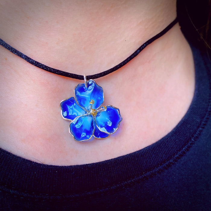 Sterling Silver and Resin Flower Pendant Blue and White Small - Studio Degas - Artfest Ontario - Studio Degas - Jewelry & Accessories