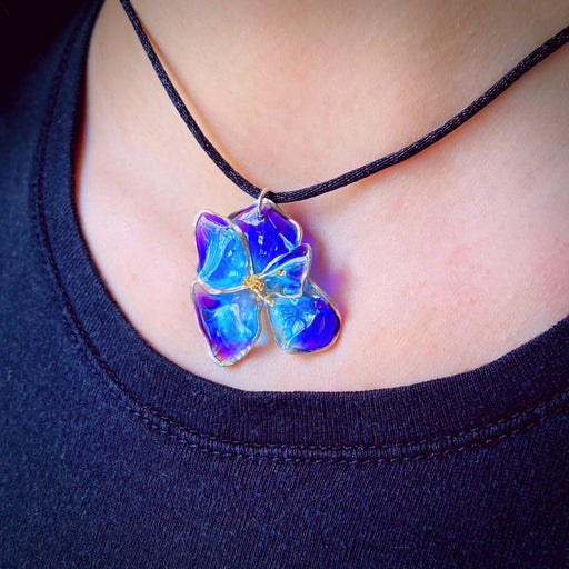 Sterling Silver and Resin Flower Pendant Blue and White - Studio Degas - Artfest Ontario - Studio Degas - Jewelry & Accessories