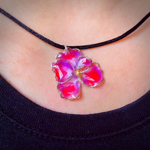 Sterling Silver and Resin Flower Pendant Light Purple and Bright Pink Small - Studio Degas - Artfest Ontario - Studio Degas - Jewelry & Accessories