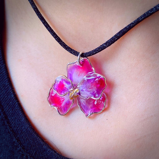 Sterling Silver and Resin Flower Pendant Light Purple and Pink Small- Studio Degas - Artfest Ontario - Studio Degas - Jewelry & Accessories