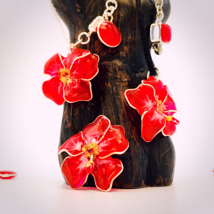 Sterling Silver and Resin Flower Pendant Red Hibiscus - Studio Degas - Artfest Ontario - Studio Degas - Jewelry & Accessories
