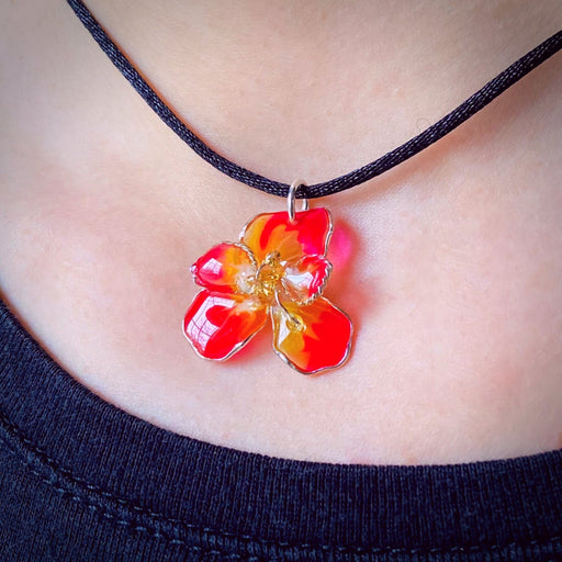 Sterling Silver and Resin Flower Pendant Red, Orange and Yellow Small - Studio Degas - Artfest Ontario - Studio Degas - Jewelry & Accessories