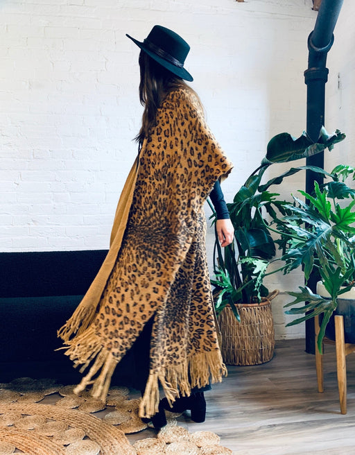 Tan and Black Animal Print Fringe Kimono - Artfest Ontario - Halina Shearman Designs - Clothing & Accessories