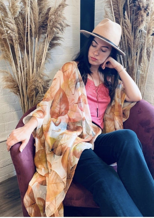 Tan Leaf Kimono - Artfest Ontario - Halina Shearman Designs - Clothing & Accessories