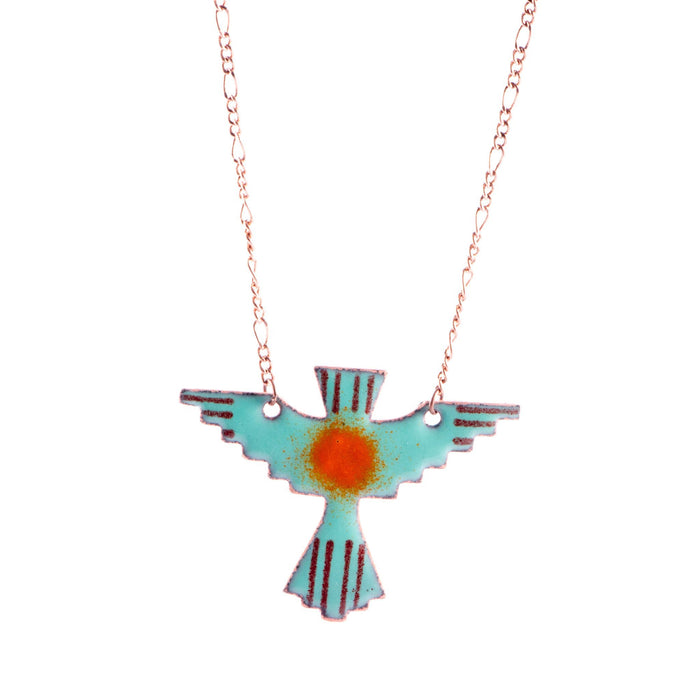 Thunderbird Necklace in Seafoam & Pumpkin - Artfest Ontario - Aflame Creations Jewelry - Jewellery