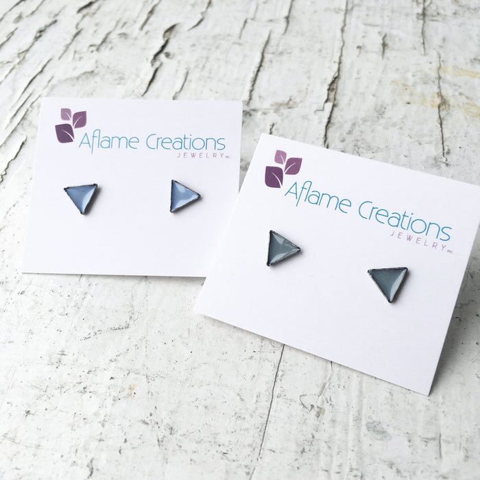 Tiny Triangle Stud Earrings in Sky or Grey - Artfest Ontario - Aflame Creations Jewelry - Jewellery