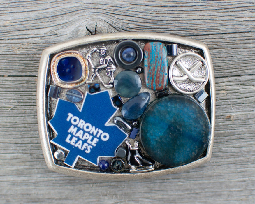 Toronto Maple Leafs theme Belt Buckle - Artfest Ontario - Lisa Young Design - Belt Buckles