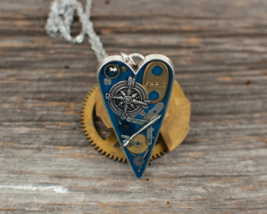 Travel theme long heart Necklace - Artfest Ontario - Lisa Young Design - Watch Part Necklaces