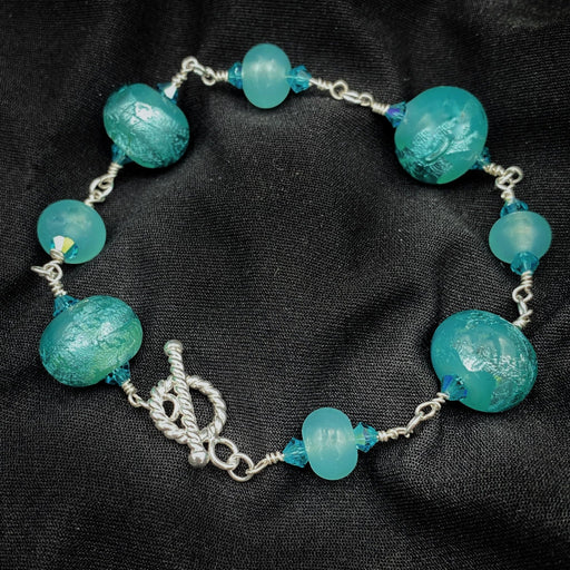 Turquoise and Silver Bracelet - Artfest Ontario - Fire & Flame Glassworks - Glass Work