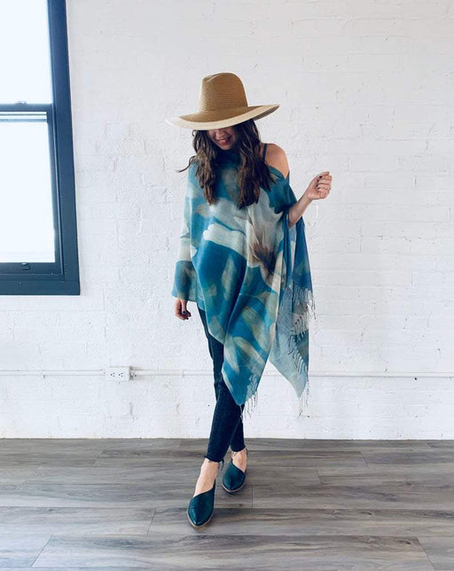 Turquoise Lily Draped Shawl - Artfest Ontario - Halina Shearman Designs - Clothing & Accessories