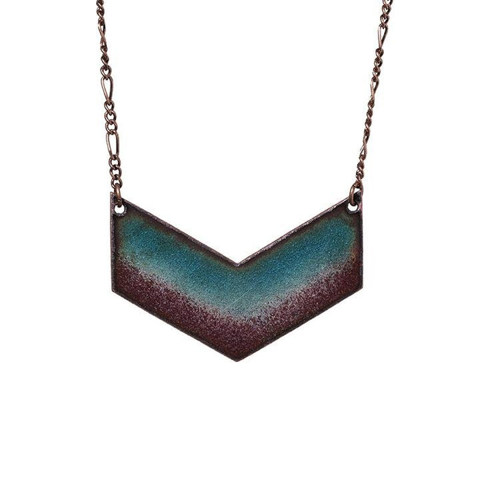Twilight Chevron Necklace in Shimmering Turquoise & Plum - Artfest Ontario - Aflame Creations Jewelry - Jewellery