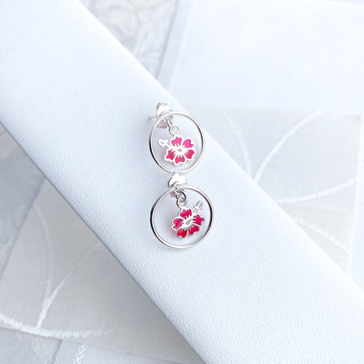Two-Piece Sterling Silver Circle Stud Earrings with Hibiscus Flowers - Artfest Ontario - Studio Degas - Jewelry & Accessories