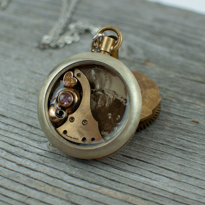 Vintage postcard Pocket Watch Necklace - Artfest Ontario - Lisa Young Design - Watch Part Necklaces