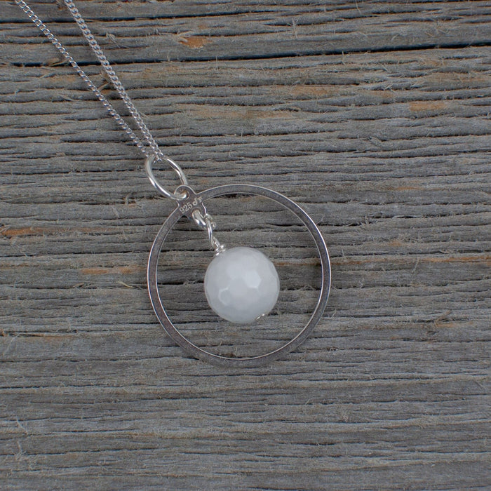 White Agate Golf ball Hole in one necklace - Artfest Ontario - Lisa Young Design - Golf Jewelry