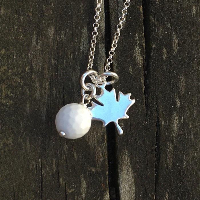 White Agate Golf ball necklace - Artfest Ontario - Lisa Young Design - Golf Jewelry