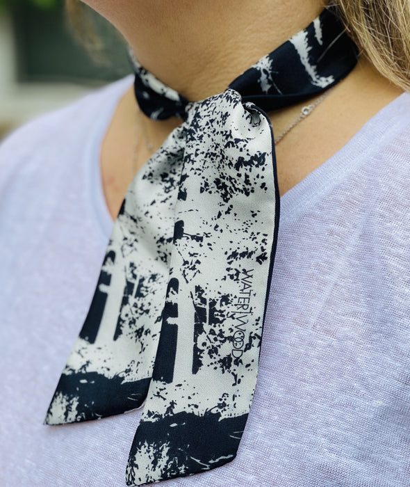 White Pine Black Twilly Scarf - Artfest Ontario - Water Wood Style - Twilly Silk Scarf